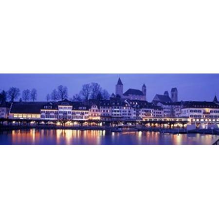 Evening Lake Zurich Rapperswil Switzerland Poster Print
