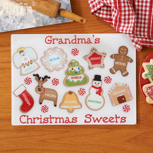 Personalized Christmas Sweets Glass Cutting Board