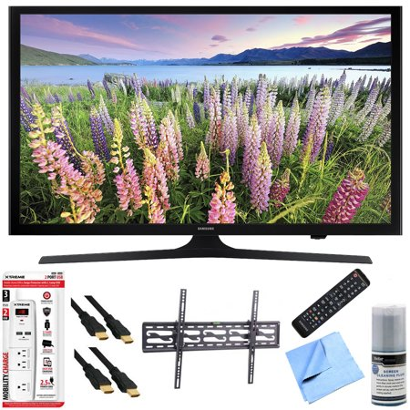 Samsung UN43J5000 – 43-Inch Full HD 1080p LED HDTV Tilt Mount & Hook-Up Bundle includes UN43J5000 43-Inch Full HD 1080p LED HDTV, Flat & Tilt Wall Mount Kit, 6′ HDMI Cable x 2, 6 Outlet/2 USB Wall Tap