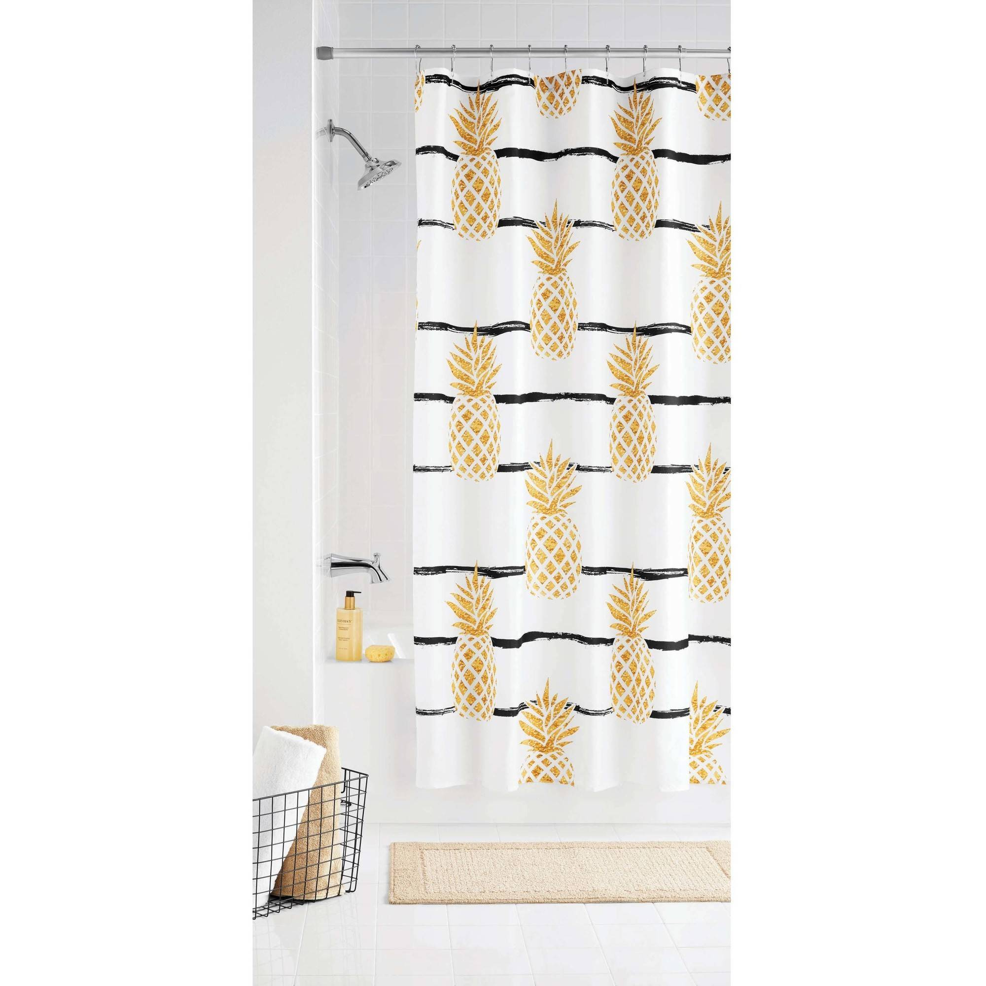 mainstays pineapple fabric shower curtain