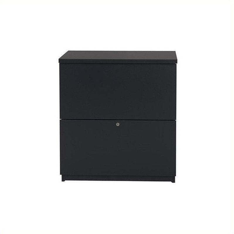 Bestar 2 Drawer Lateral Wood Filing Cabinet in Charcoal by Bestar