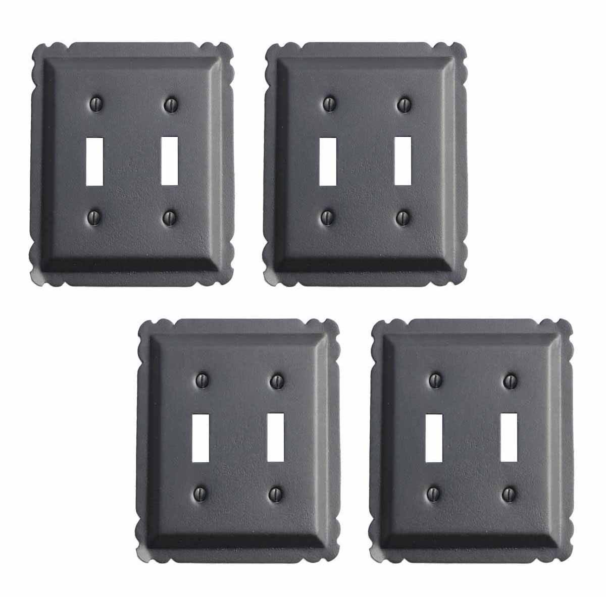 4 Switchplate Black Steel Double Toggle | Renovator's Supply