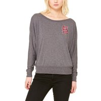 St. Louis Cardinals Let Loose by RNL Women's Winning Off-Shoulder Long Sleeve T-Shirt - Dark Heathered Gray