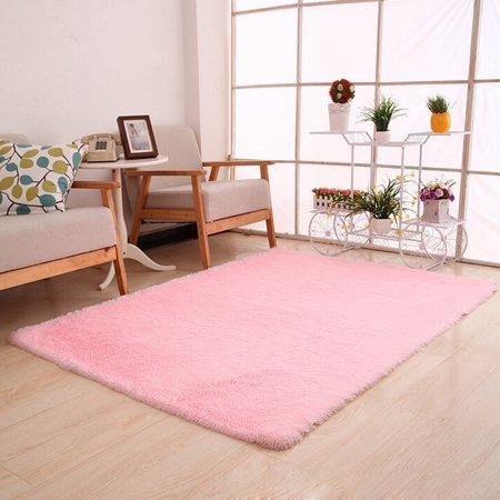 Fluffy Rugs Anti-Skid Shaggy Area Rug Dining Room Bedroom Carpet Floor Mat  PK