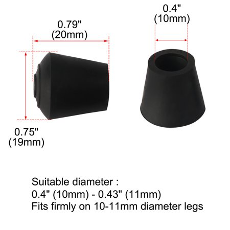"Rubber Leg Cap Tip Cup Feet Cover 10mm 3/8"" Inner Dia 9pcs for Furniture Chair - image 5 of 7"