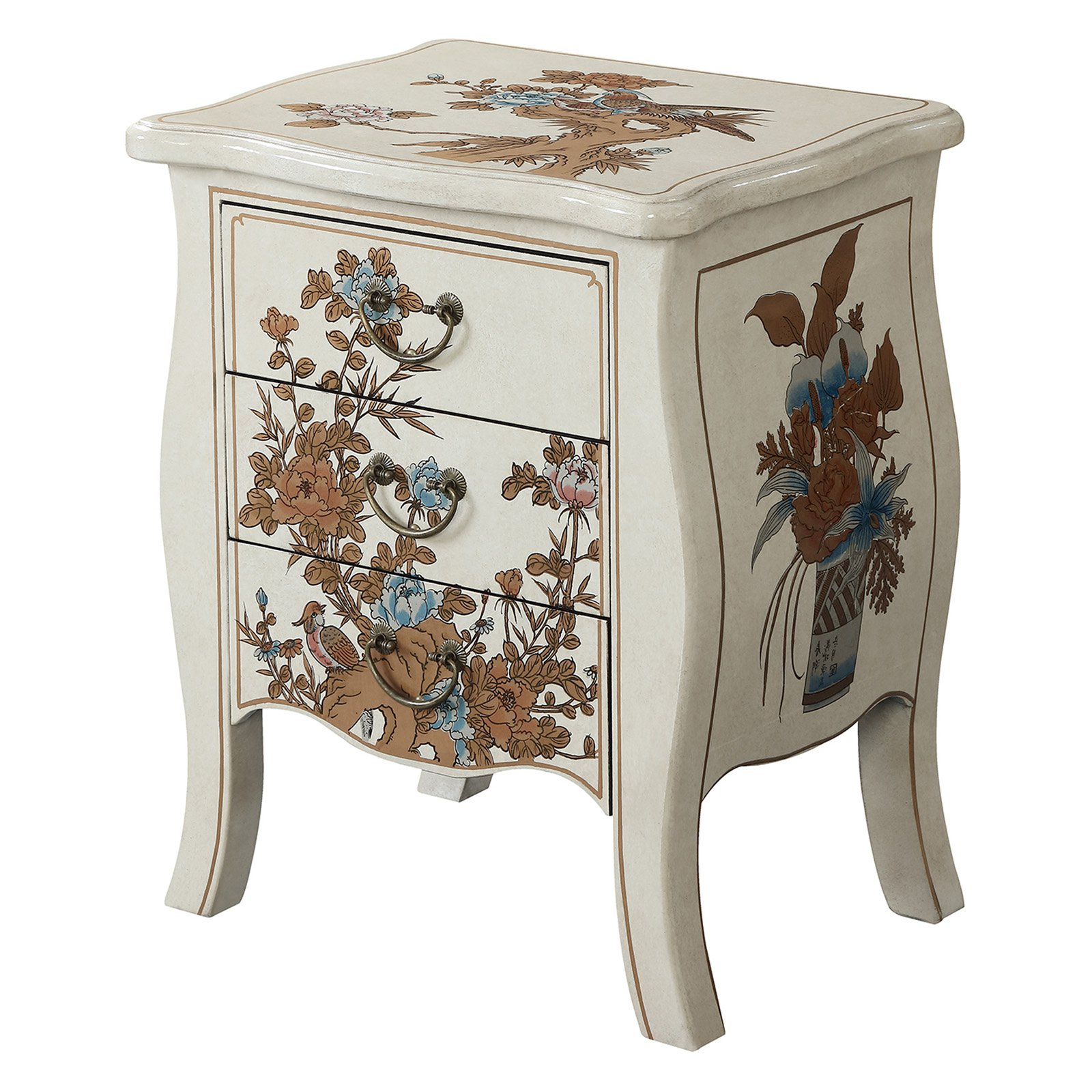 Convenience Concepts Touch of Asia 3-Drawer End Table, Multiple Colors