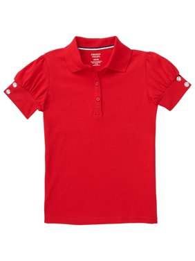 French Toast Girls School Uniform Short Sleeve Puff Sleeve Polo Shirt With Rhinestone Buttons, Sizes 4-16 & Plus