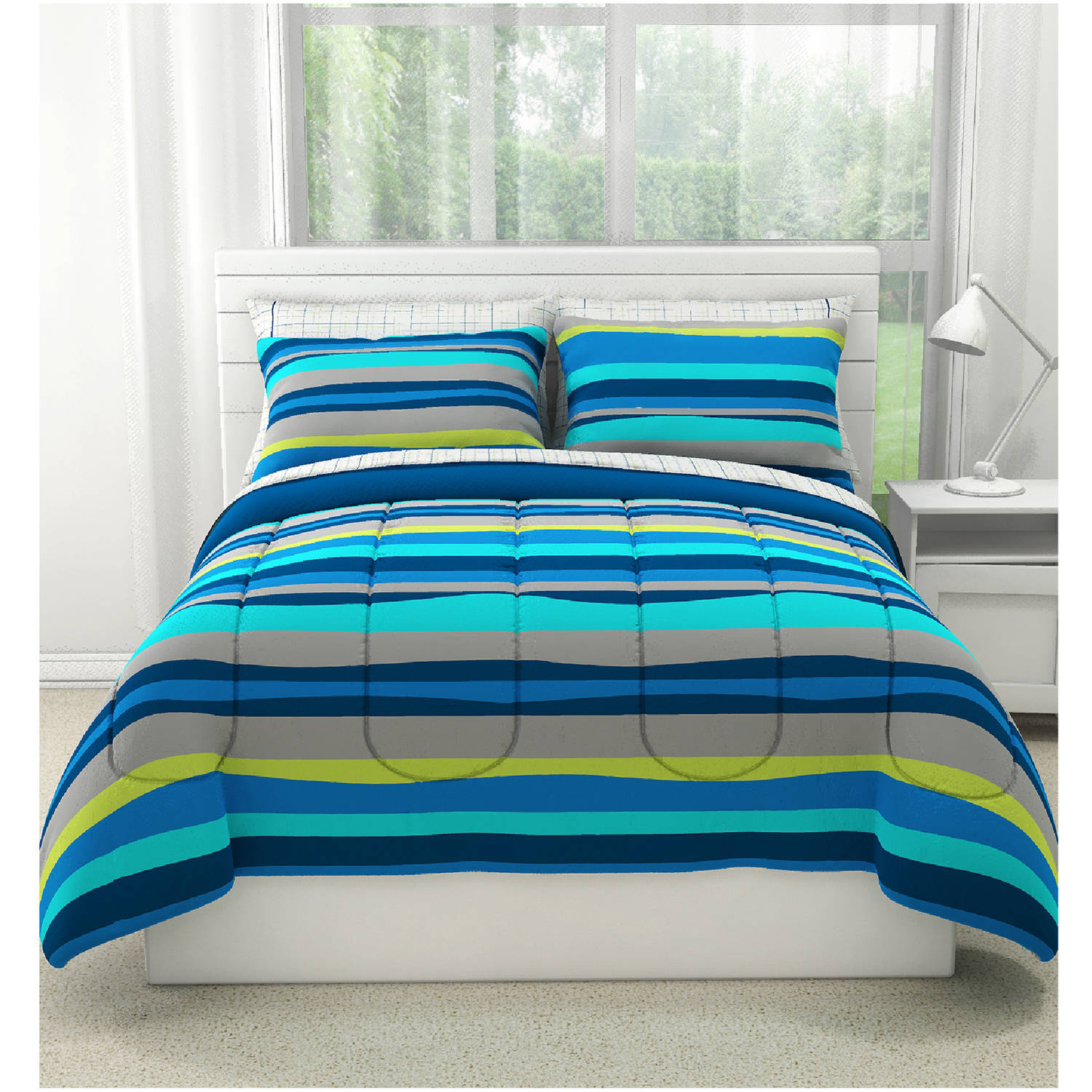 Your Zone Blue Pacific Stripe 2-piece Comforter Set, Twin
