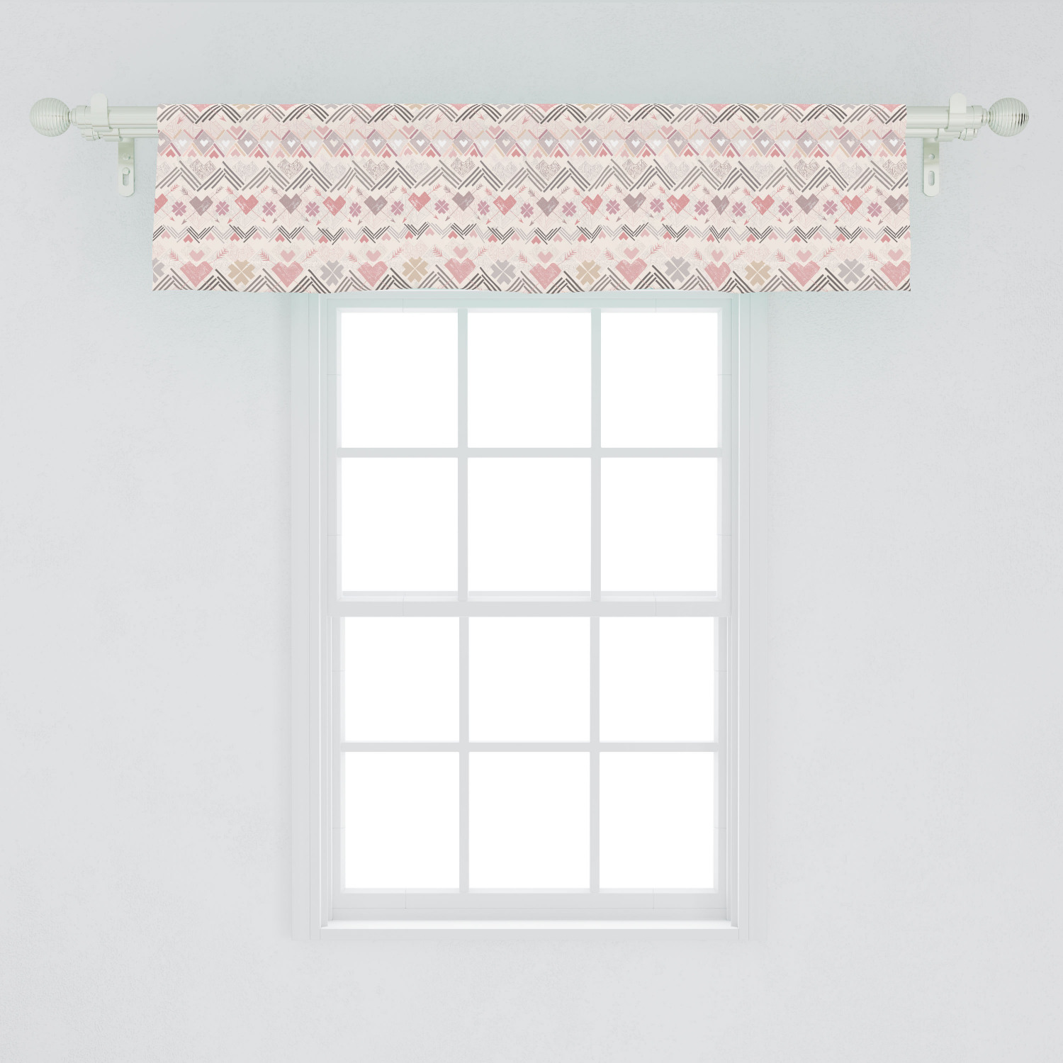 Pastel Window Valance Aztec Style Pattern With Hearts Geometric Vintage Romantic Grunge Curtain Valance For Kitchen Bedroom Decor With Rod Pocket By Ambesonne Walmart Com Walmart Com