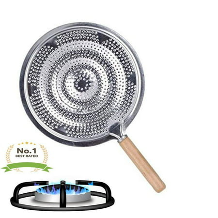 Simmer Ring Heat Diffuser & Flame Tamer Quality Round Gas Stove Top - Aluminum & Wood Handle