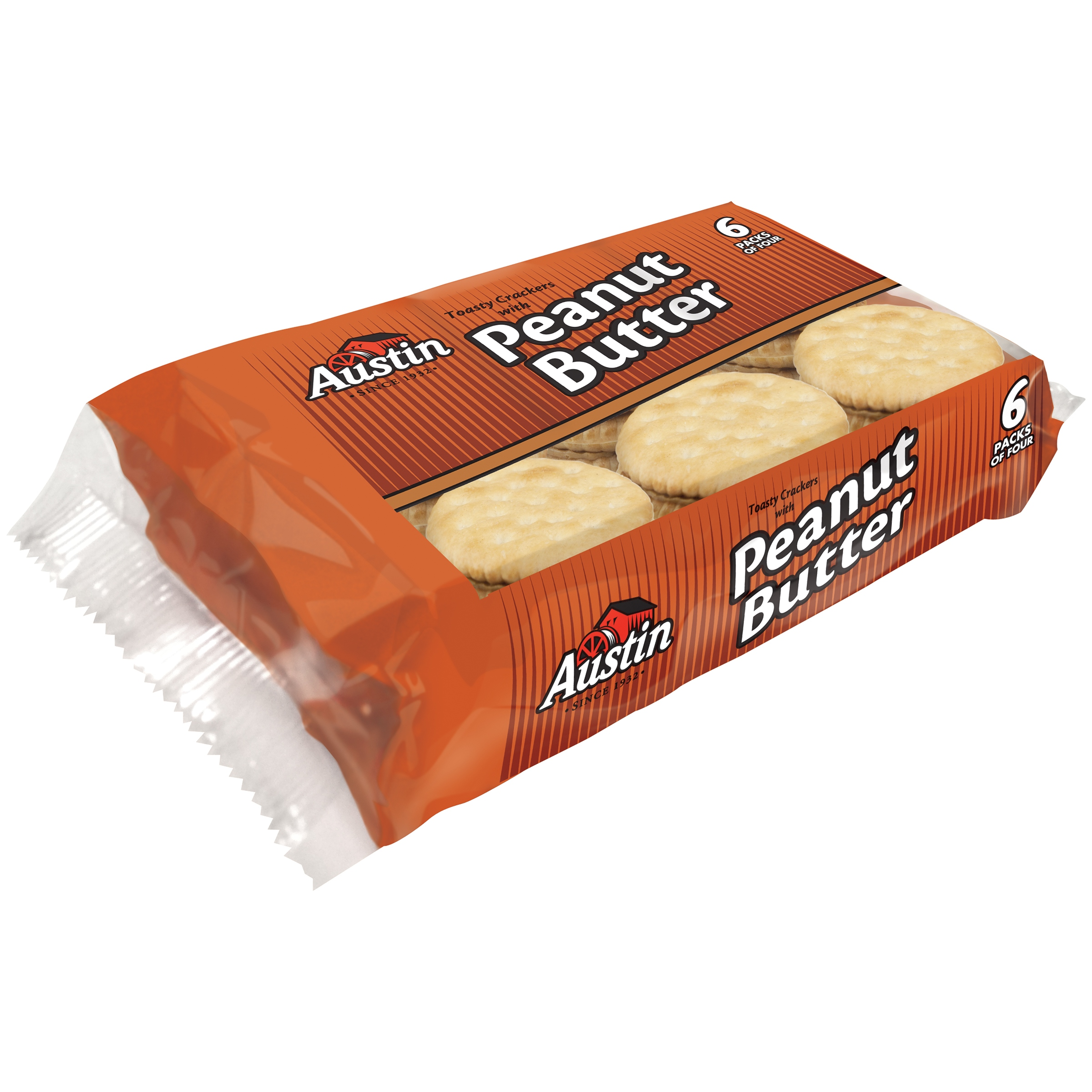 Austin Toasty Crackers with Peanut Butter, 0.93 oz, 6 pack