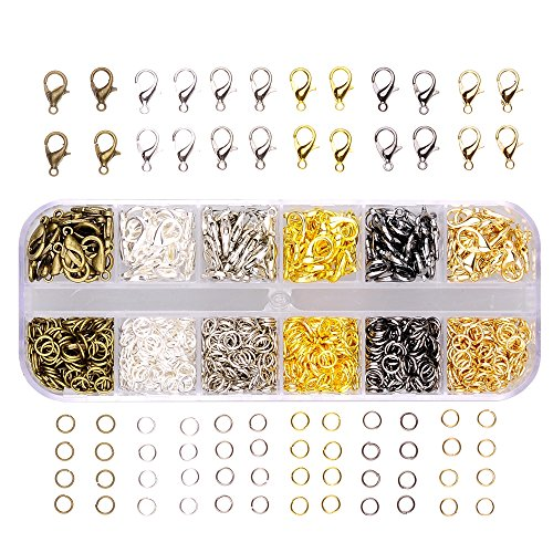 In A Box(960pcs box) kit with 6 Colors 840 Pcs Open Jump Rings 4mm and 120 Pcs Lobster Claw Clasps 12mm for Jewelry... by