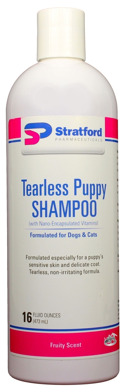 Tearless Puppy Shampoo [Fruity Scent] for Dogs & Cats (16 oz) by Stratford Pharmaceuticals