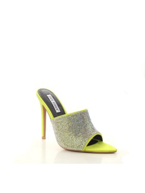 eb2ab209537 Product Image Cape Robbin TIFFANY LIME Rhinestone Slip-On Mules Pointy Open  Toe Stiletto Heel (6.5