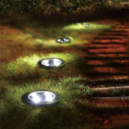 1PC LED Ground Lights Waterproof Lawn Lamp 5LEDs Solar Light Pathway In-Ground Lights Outdoor Water-resistant Landscape Spike Lighting Underground Spotlight for Pathway White - image 2 de 7