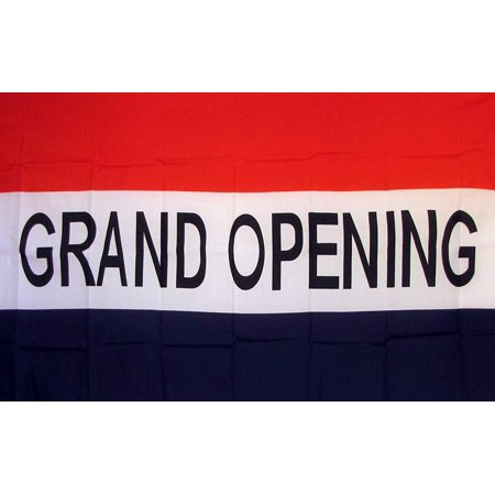 Deluxe Quality Polyester (Grand Opening Flag 3' X 5' Deluxe Indoor Outdoor Business Banner, A quality flag made of super polyester with two Metal grommets on inner flyside for easy flag.., By Nuge,USA )