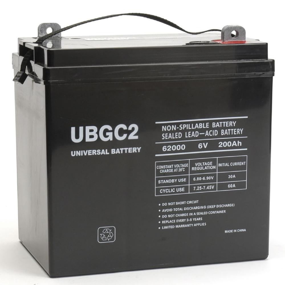 UPG UB-GC2 Golf Cart SLA / AGM Battery - Sealed Lead Acid - 6 Volt - 200 Ah Capacity - L5 Terminal - Kit