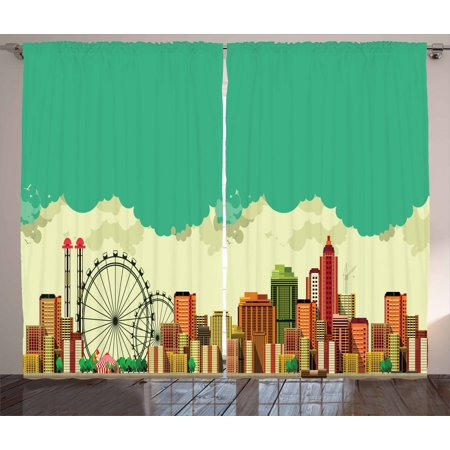 Ferris Wheel Curtains 2 Panels Set, Vintage Panaromic View of a Metropolis Consisting Skyscrapers Greenery Circus, Window Drapes for Living Room Bedroom, 108W X 96L Inches, Multicolor, by Ambesonne Set Ferris Wheel