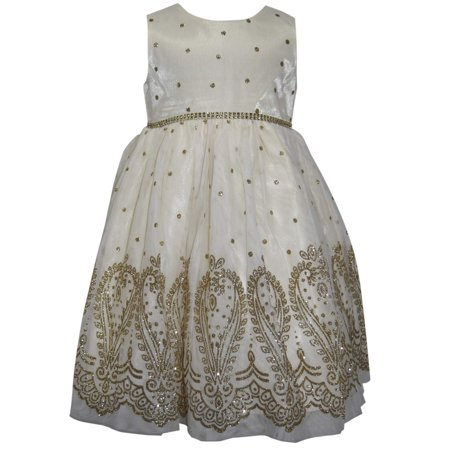 Metallic Embroidered Mesh Overlay Holiday Dress with Faux Fur Shrug - Girls Velvet Shrug
