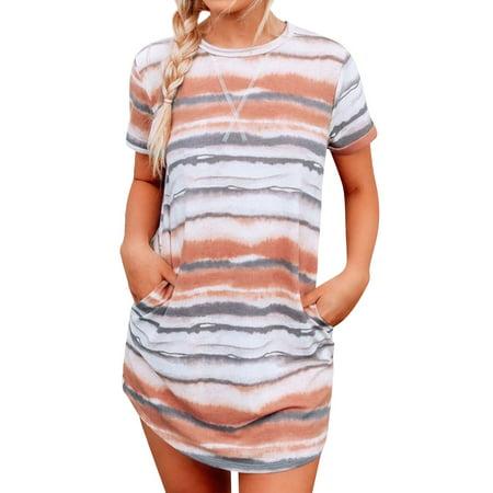 Nlife Women Tie Dye Stripe Print Round Neck Pockets Short Sleeve Mini Dress