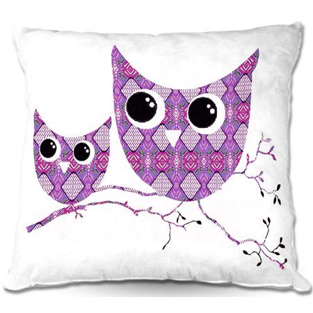 (DiaNoche Designs Throw Pillows from Artist Susie Kunzelman - Owl Argyle Rose)
