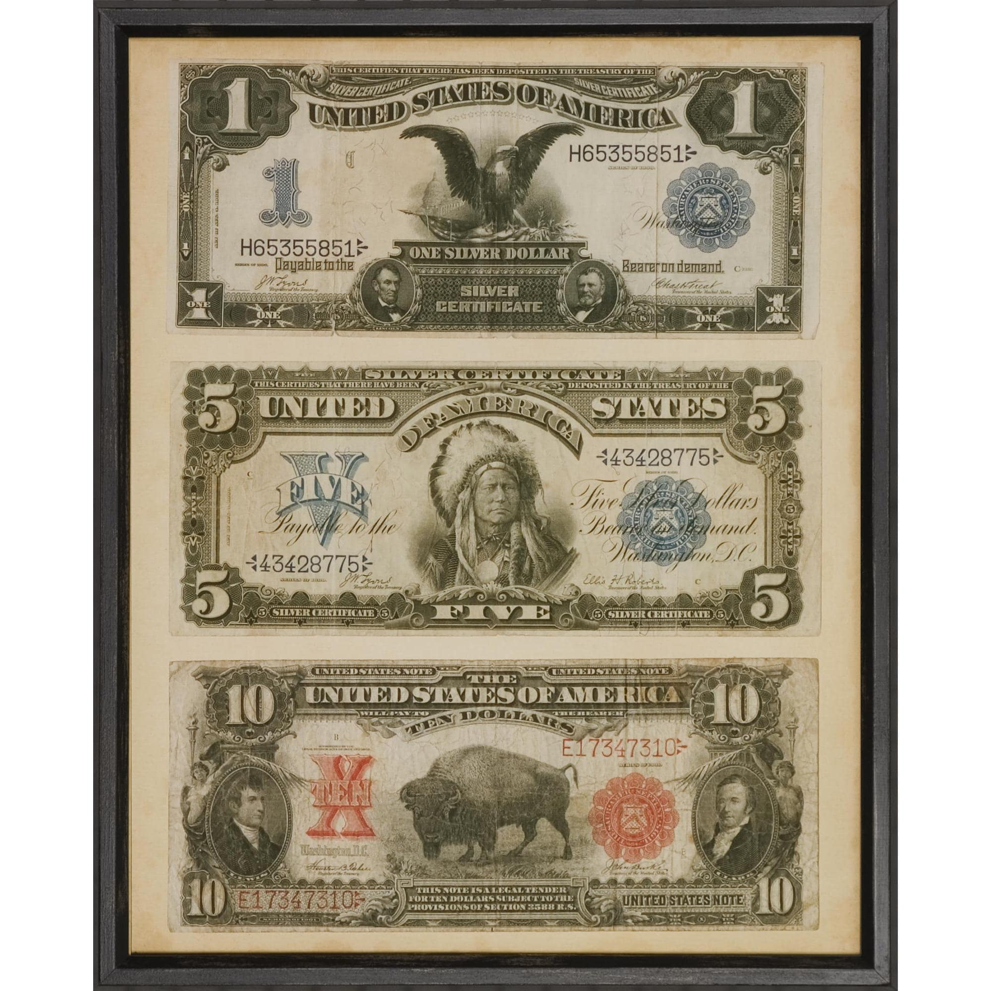 Art Virtuoso Antique American Currency Framed Art Print