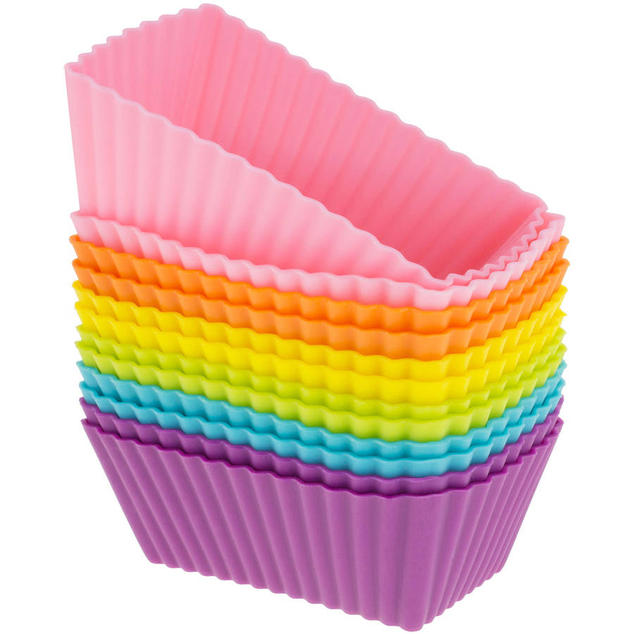 Freshware 12-Pack Mini Rectangle Reusable Silicone Baking Cup, Rainbow Colors, CB-308SC