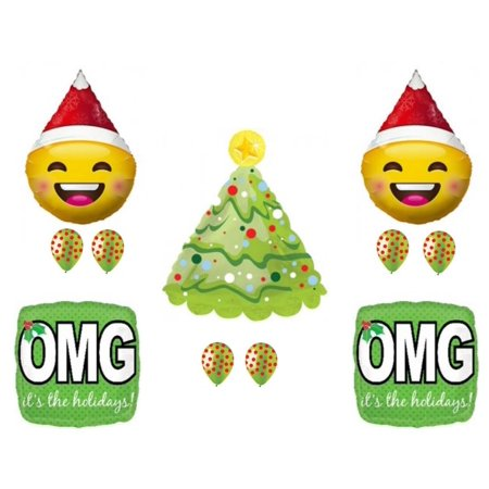 Christmas Emoji Santa OMG Holidays party Balloons Decorations Supplies Office](Office Party)