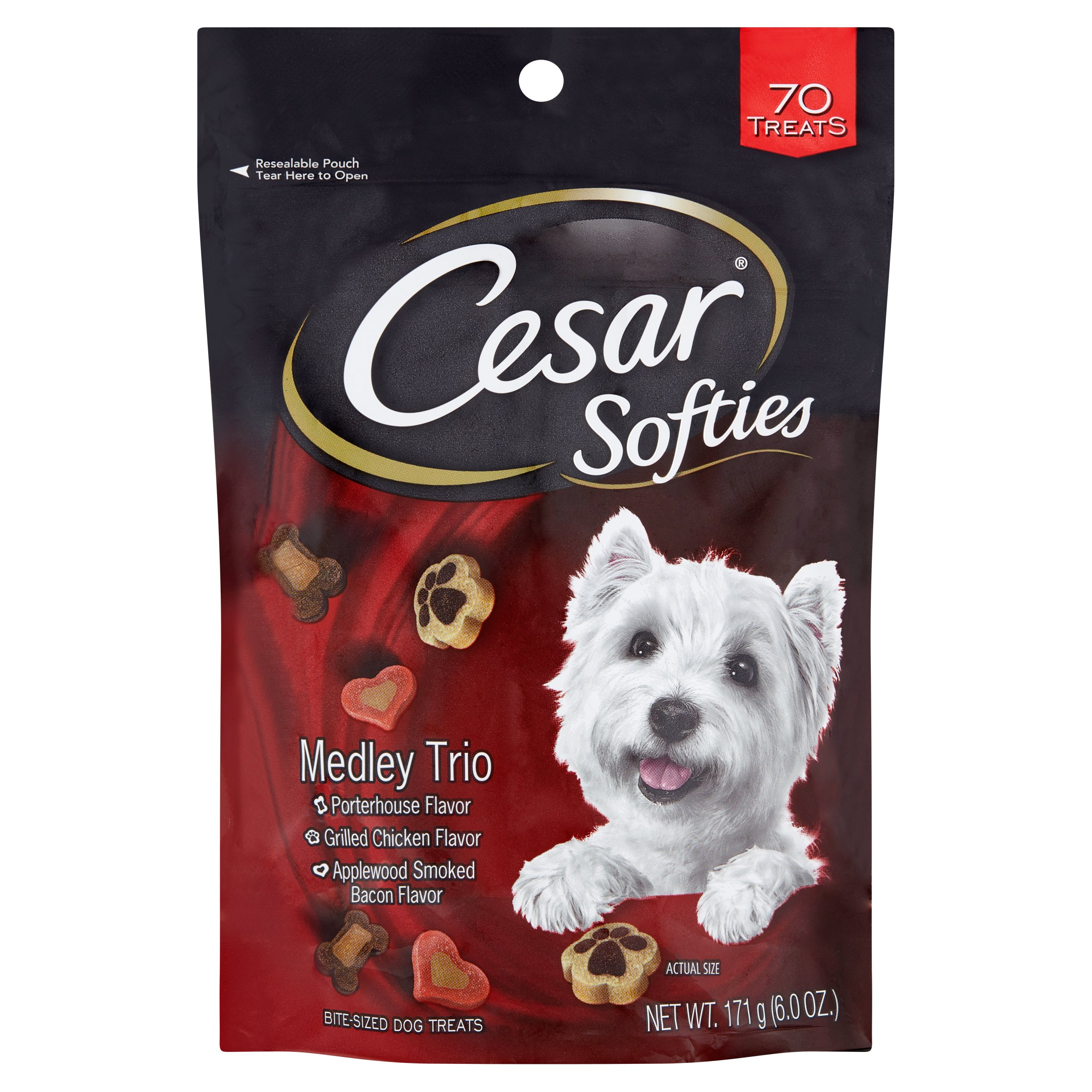 Cesar Softies Medley Trio Bite-Sized Dog Treats, 70 Count, 6.0 Oz by Mars Petcare Us