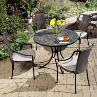 Home Styles 5 Piece Dining Set with Stone Harbor Table and Laguna Slope Armchairs, Black/Taupe