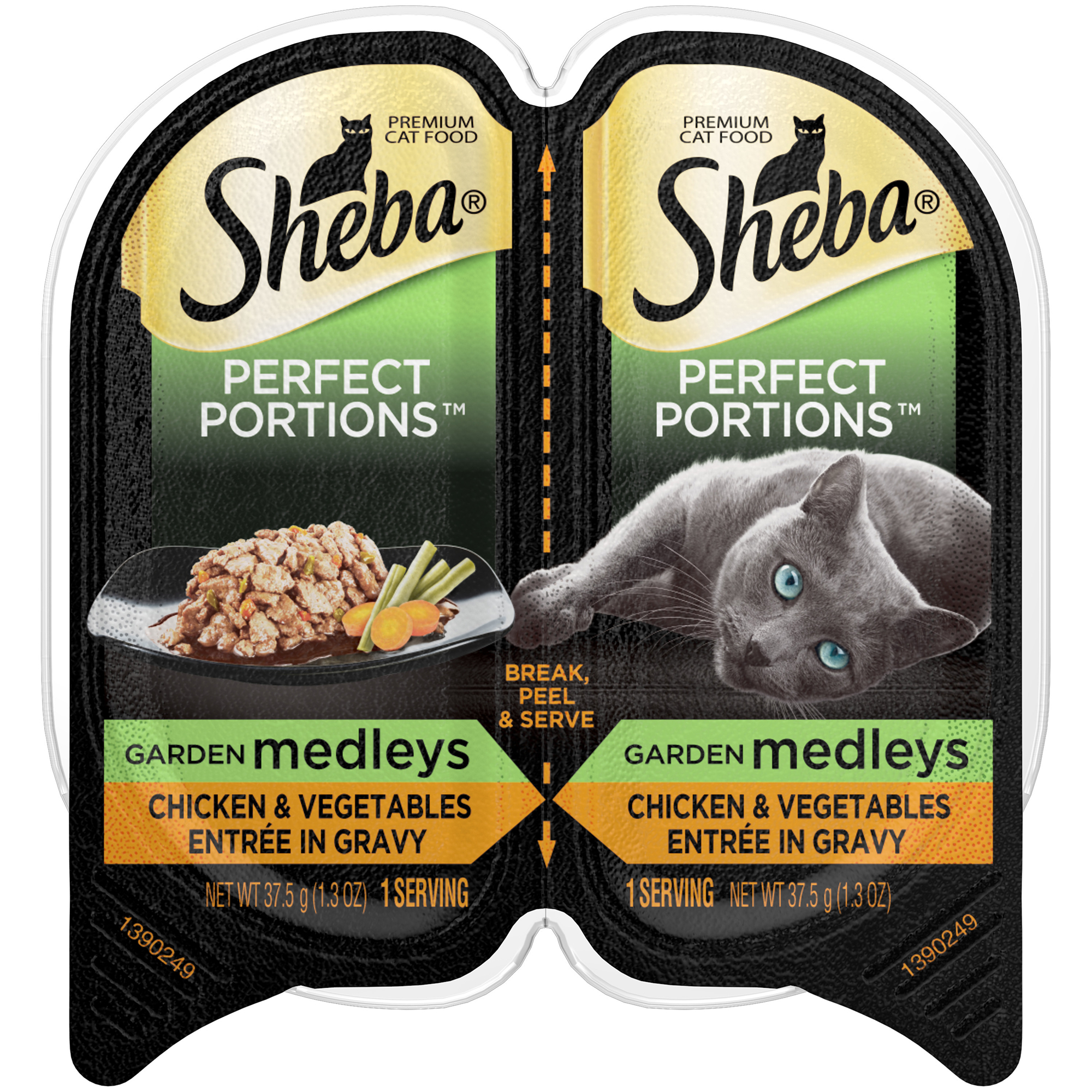 Sheba Perfect Portions Garden Medleys Wet Cat Food, Chicken And Vegetables In Gravy, 2.6 Oz (24 Twin Packs)