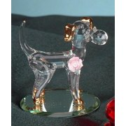 Dog w/ Ball on Bevel Mirror Collectible Decoration Glass Sculpture