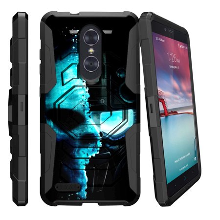 buy popular cc5c9 b9f31 ZTE Zmax Pro Holster Case | Zmax Pro Phone Case [ Armor Reloaded ] Rugged  Phone Protector Case with Kickstand + Belt Clip - Cyborg Robot