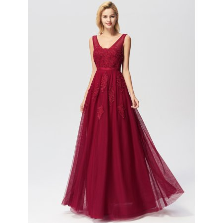 Ever-Pretty Womens Elegant A-Line Tulle Long Prom Formal Evening Dresses for Women 07723 Burgundy US4