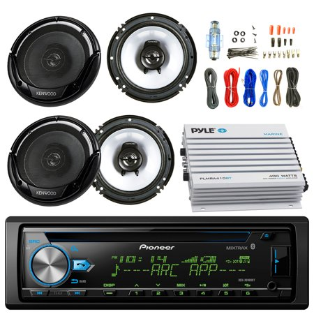 "Pioneer DEH-X6900BT Car CD Player Receiver Bluetooth USB AUX Radio - Bundle Combo With 2x Kenwood KFC1665S 6.5"" Inch 300-Watt 2-Way Black Car Coaxial Speakers + 4-Channel Amplifier + Amp Install Kit"