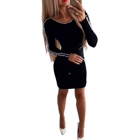 Women's Long Sleeve Round Neck Beaded Pearl Bodycon Mini Sweater Dress Party Clubewear A-Line Knit Dress