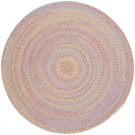 Pink Rug Braided Design 4 Foot Round Soft Kids Nursery