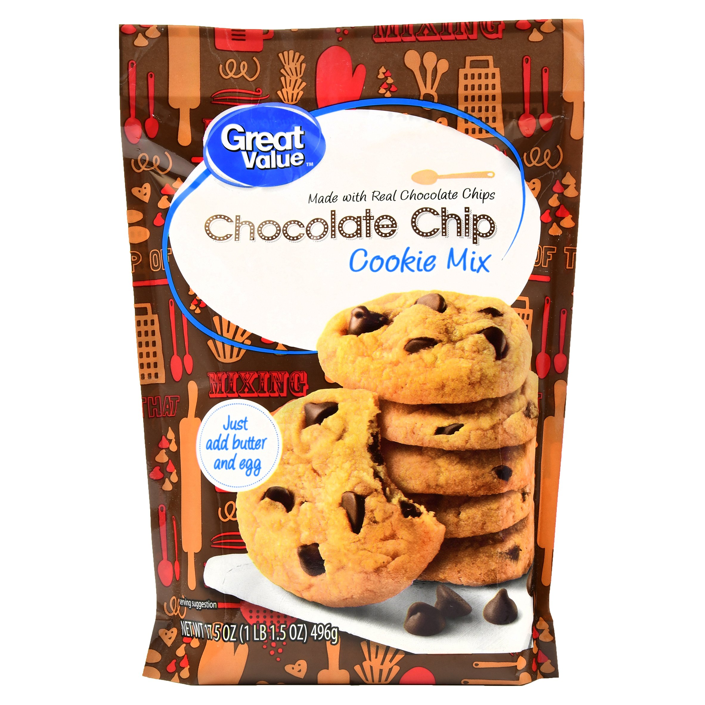 (4 Pack) Great Value Cookie Mix, Chocolate Chip, 17.5 oz