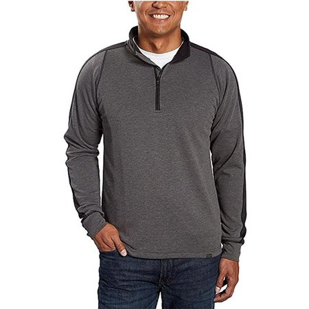 HAWKE & CO. Mens Performance Long Sleeve Quarter Zip Pullover Active Sweatshirt (Grey Heather, XL)