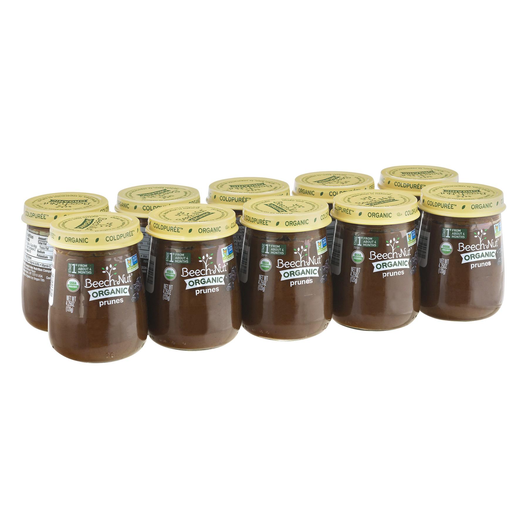 (10 Pack) Beech-Nut Organic Stage 1 Prunes Baby Food, 4.25 oz