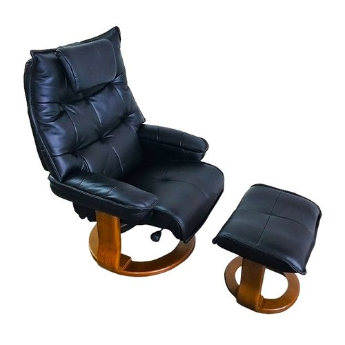 World Source Design Hana Leather Manual Swivel Recliner with Ottoman