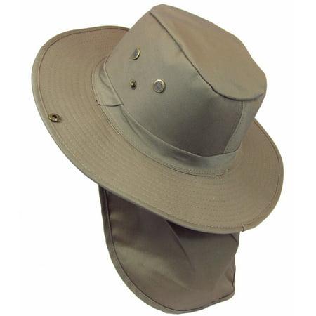 SAFARI Hat/ Boonie in Dark Tan/ Khaki Neck Flap Chin Strap, Fishing Bucket Hat Outdoor