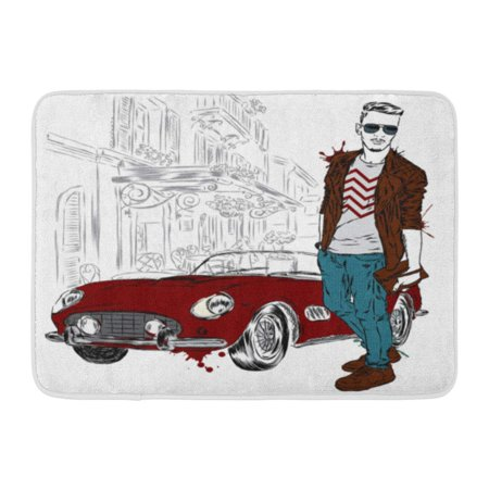 GODPOK Arms Watercolor Handsome Guy in Stylish Hipster Man and Retro Car Accessories Bag Rug Doormat Bath Mat 23.6x15.7 inch