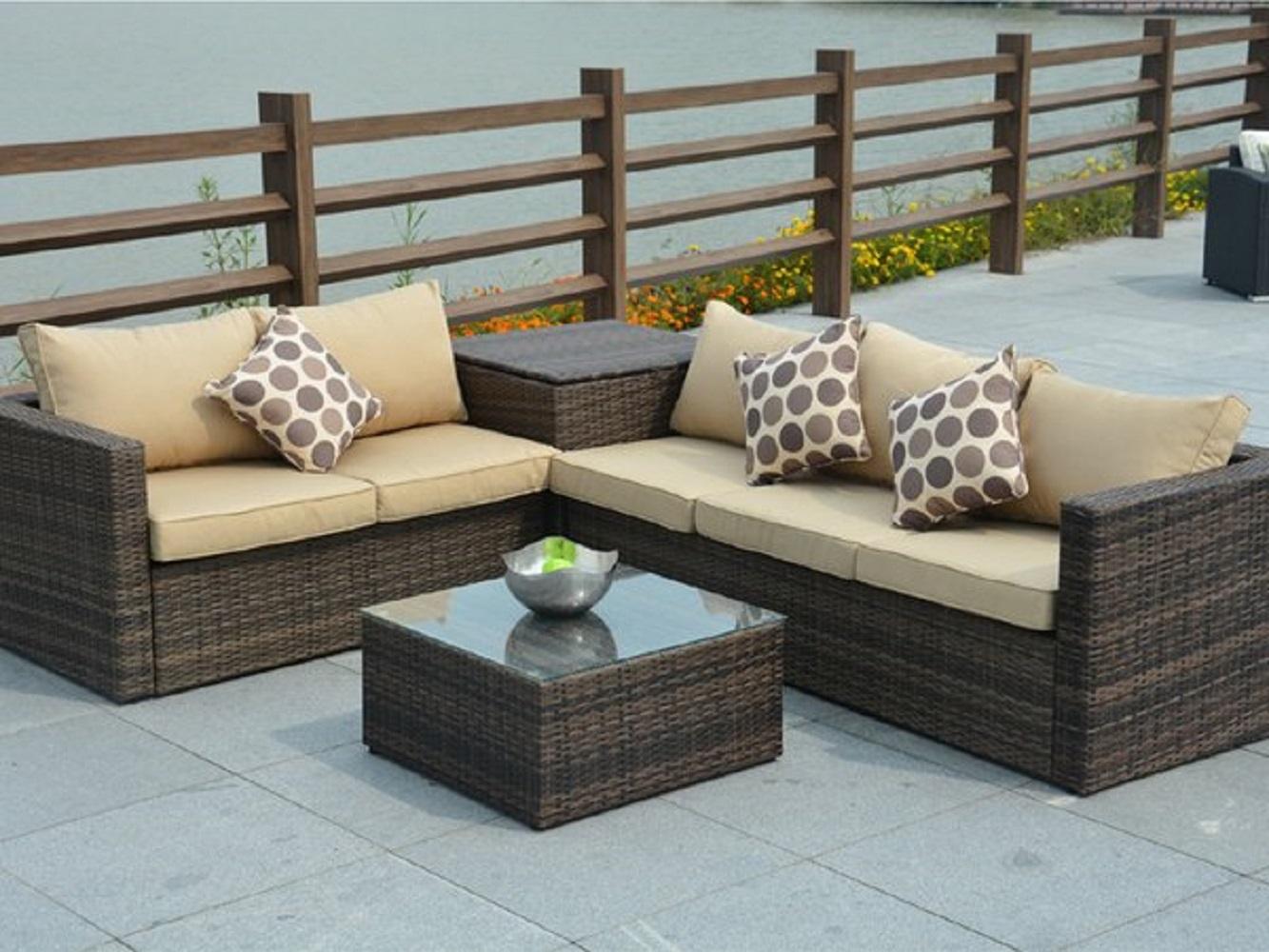 Jasmine Brown 4 Piece Outdoor Patio Furniture Conversation Set ...