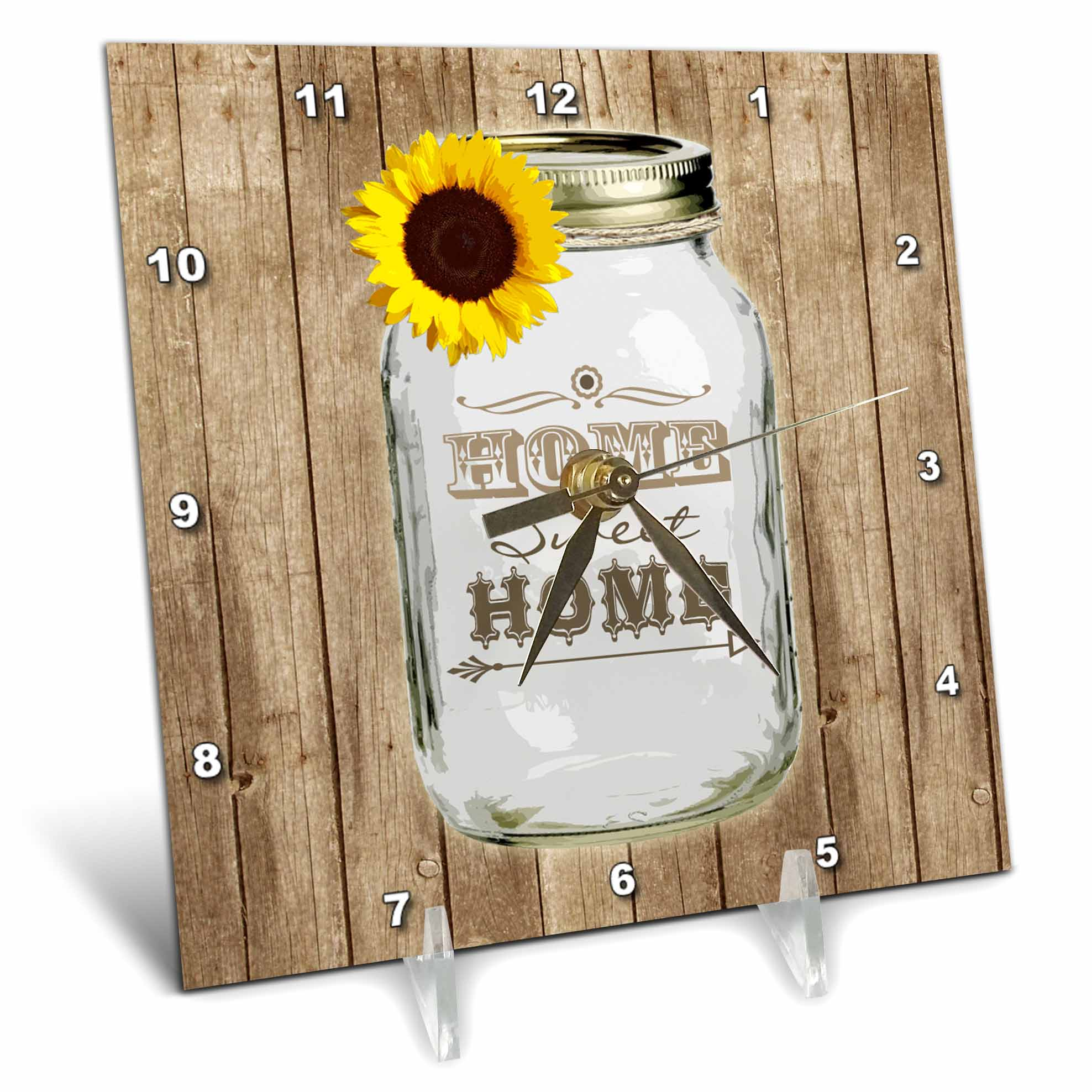 3dRose Country Rustic Mason Jar with Sunflower Home Sweet Home, Desk Clock, 6 by 6-inch by 3dRose