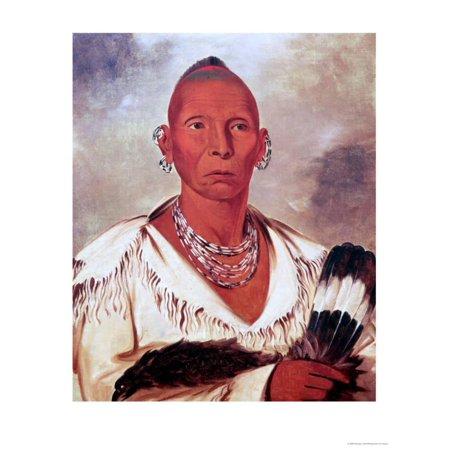 Portrait of Black Hawk, Indian Chief Print Wall Art By George Catlin