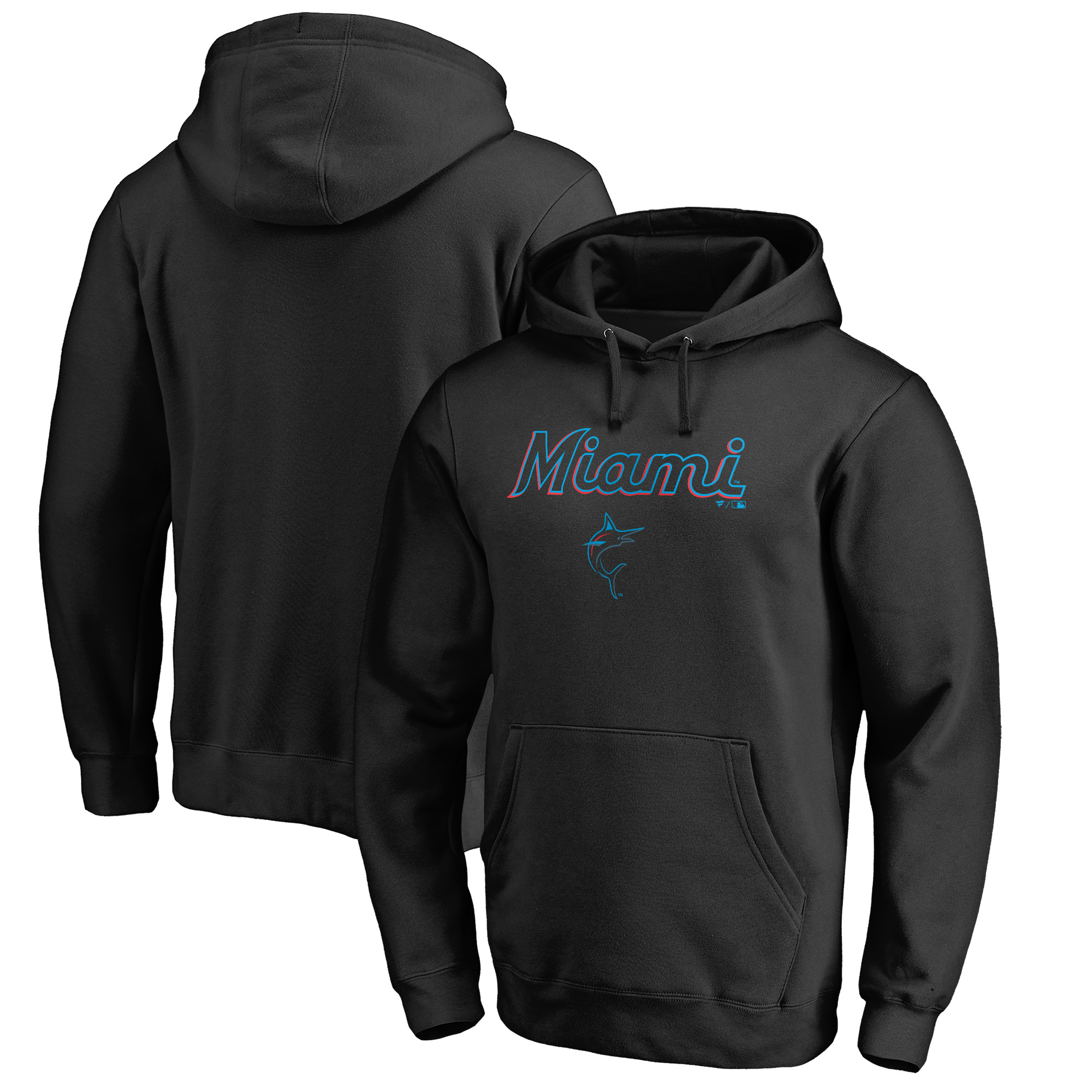 Miami Marlins Fanatics Branded Team Lockup Pullover Hoodie - Black