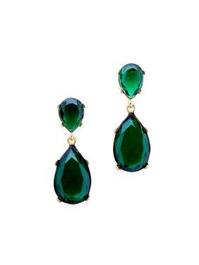 Emerald Teardrop Pierced Earrings