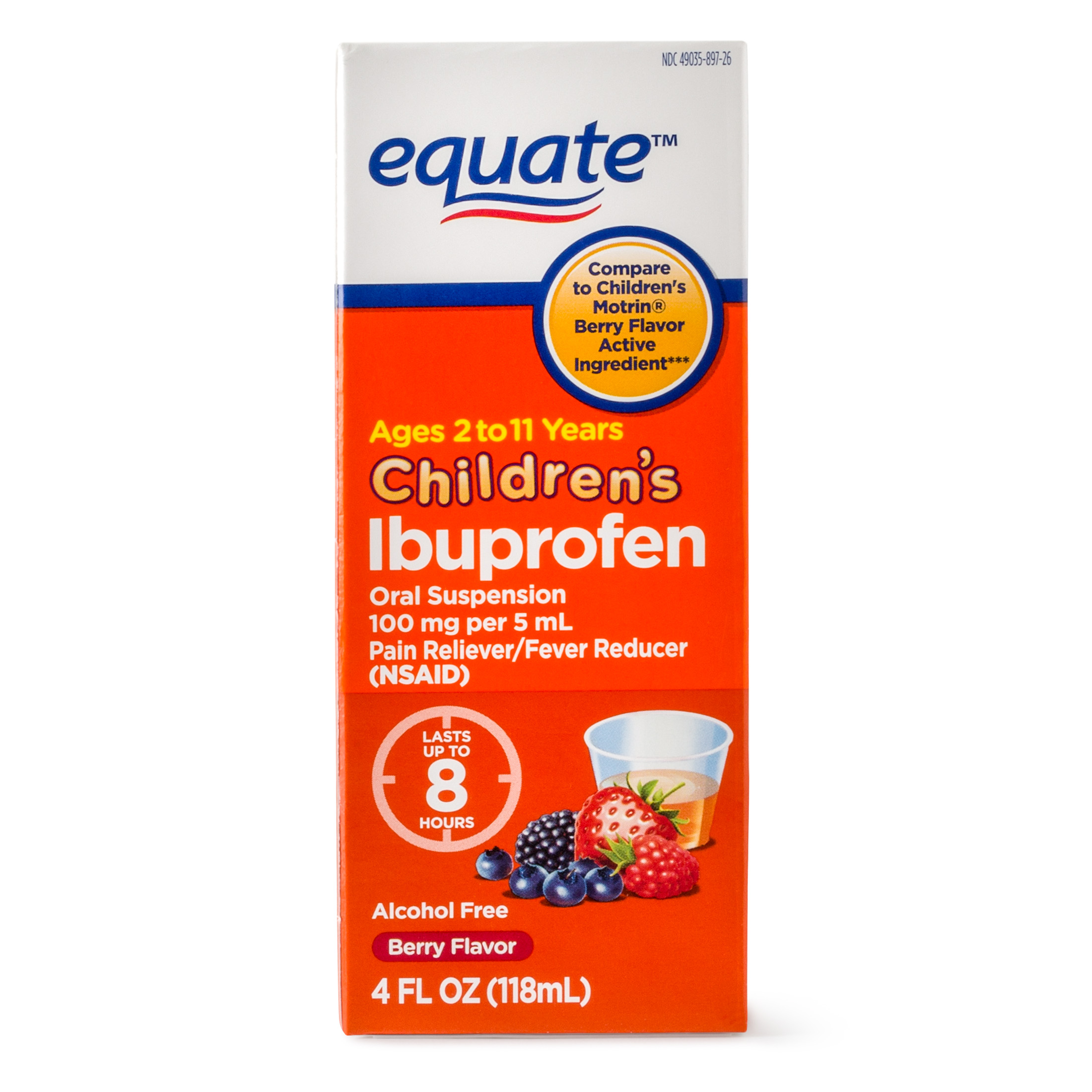 Equate Childrens Ibuprofen Berry Suspension, 100 mg, 4 Fl Oz