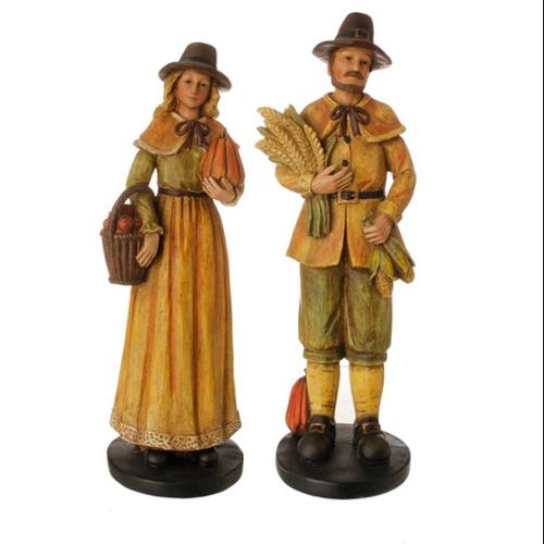 Set of 2 Autumn Harvest Pilgrim Couple Thanksgiving Table Top Decoration 13.5""